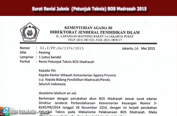 Surat Revisi Juknis  (Petunjuk Teknis) BOS Madrasah 2015