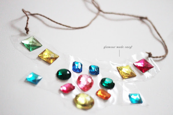 DIY gemstone clear necklace