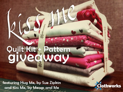 Giveaway! meags and me Kiss Me pattern and Clothworks Hug Me fabric by Sue Zipkin