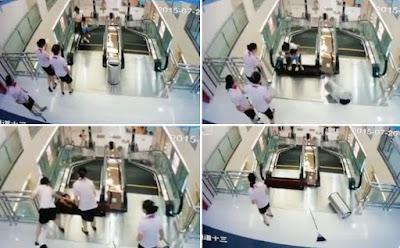 mozgólépcső baleset, bevásárlóközpont, Kína, Forrás: South China Morning Post
