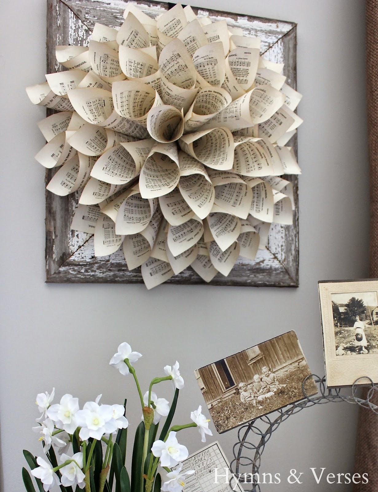 Hymns and verses paper wreath with barn wood frame for sale for Craft wreaths for sale