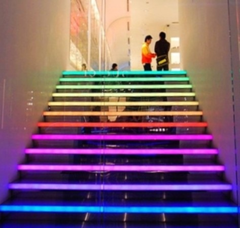 Living Room Interior Design With Interior Stairs, Coloring The Internal  Stairs With Rainbow Colors