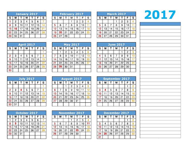 Excel календарь на 2017 год