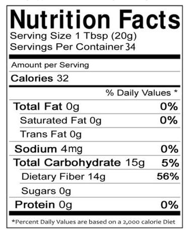 nutritional info on Vitafiber
