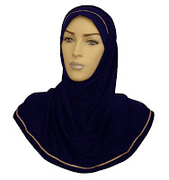 manequin head wearing dark blue Muslim head scarf