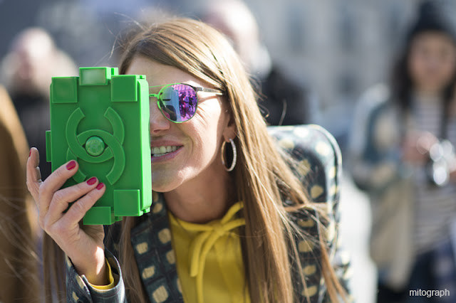 mitograph Anna Dello Russo Green Chanel Legobag Paris Fashion Week 2013 2014 Fall Winter Street Style Shimpei Mito