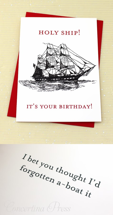 Funny birthday card for fishermen, boaters and sailors by Concertina Press