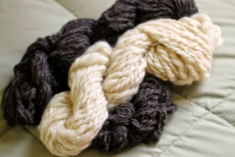Hand spun wool skeins