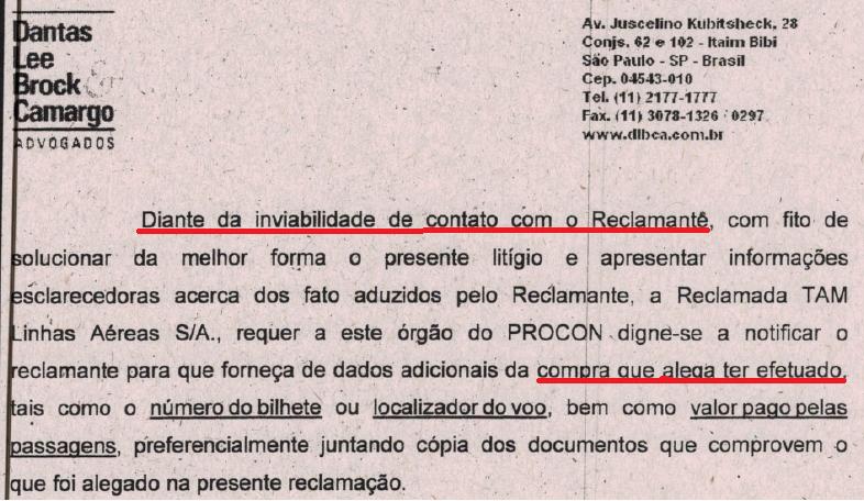 Trecho de carta resposta da TAM em caso de prejuízo do passageiro