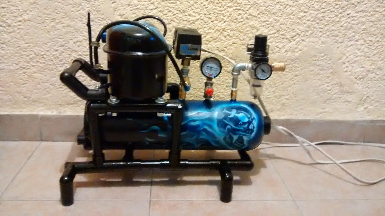 compresor de aire casero. compresor casero motor de nevera frigorifico minicompresor aerografia silencioso compresor de aire casero