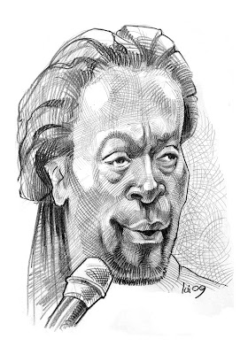 caricature Bobby McFerrin jazzman, jazz, musicien (hachures croisées)
