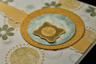 Circles flowers retro aqua gold olive green hello card by Handiworkin' Girls