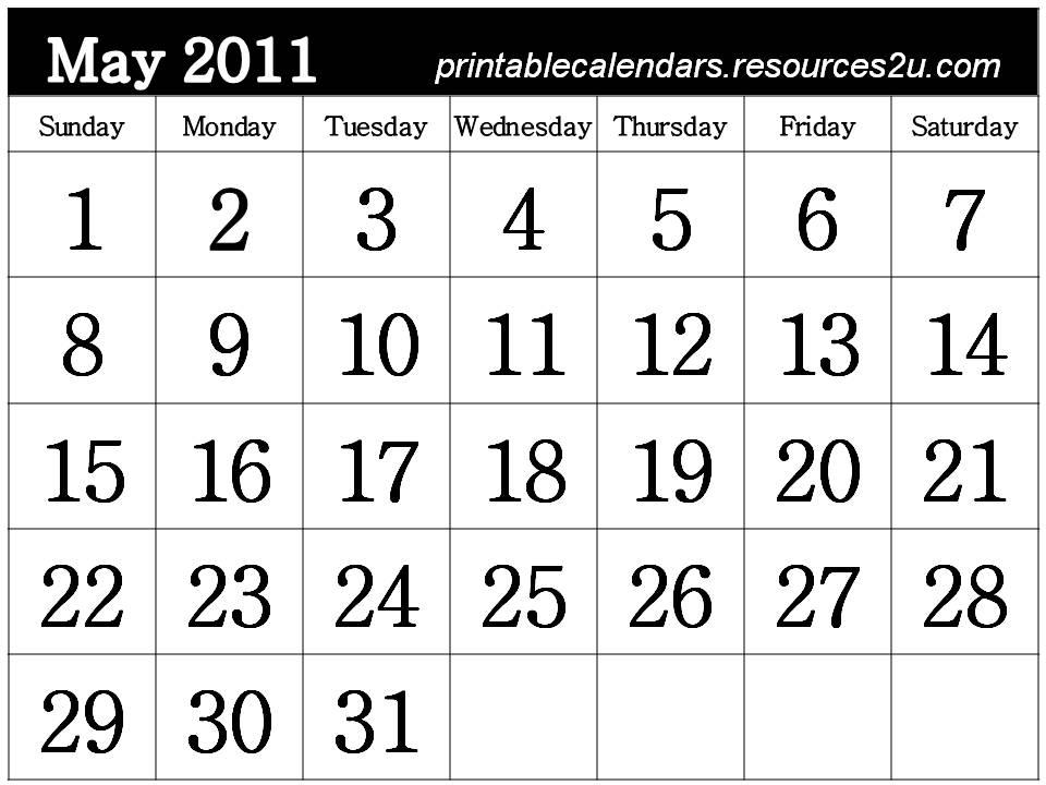 may calendar 2011 template. Free May 2011 Calendar