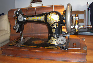Jones Family CS sewing machine, described as 'As supplied to HM Queen Alexandra'. This machine dates from about 1914 or 1915.