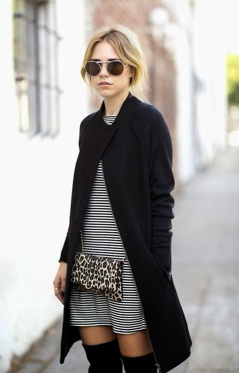 Mini stripes dress and black coat