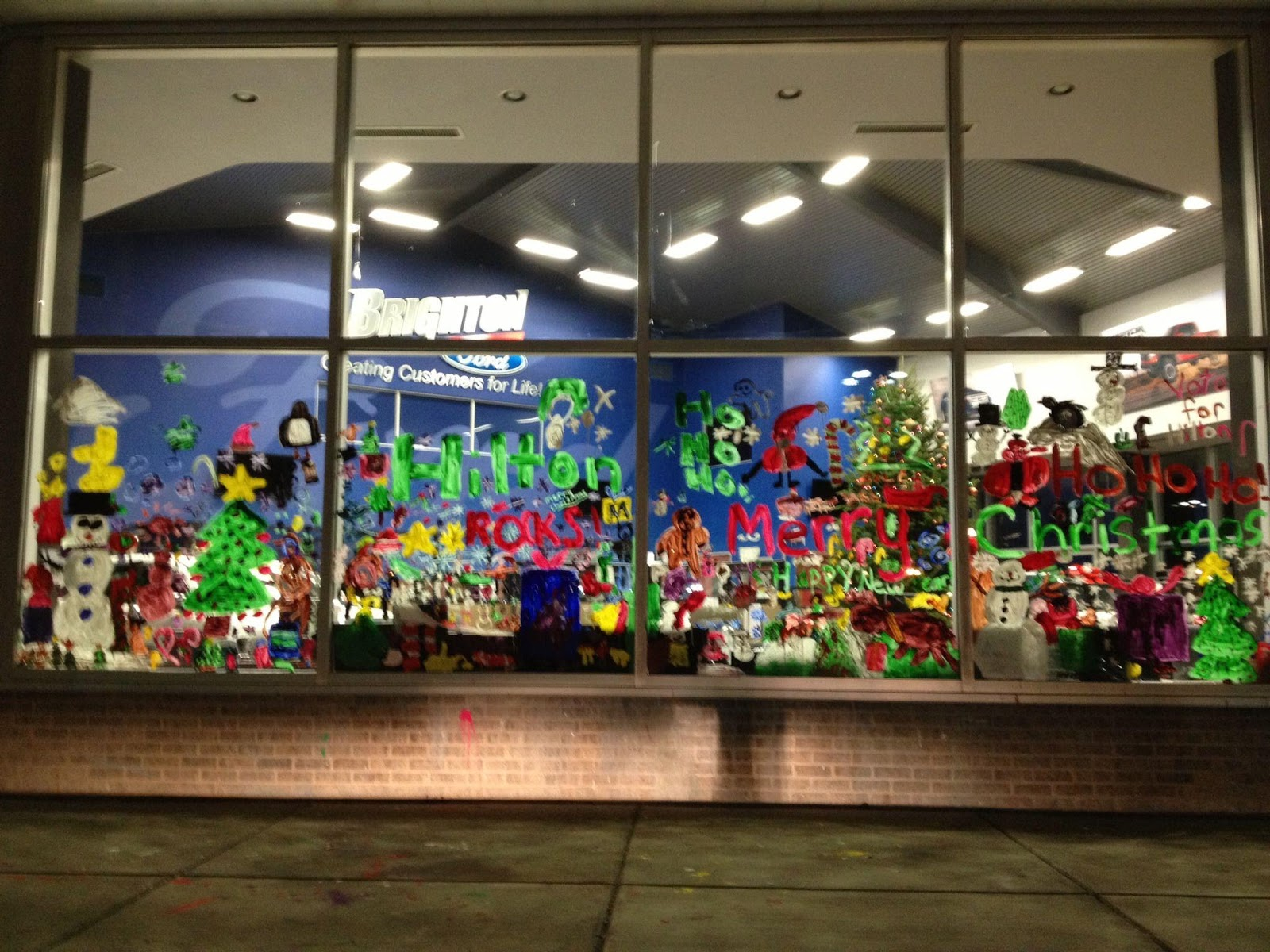 Holiday Window Painting at Brighton Ford