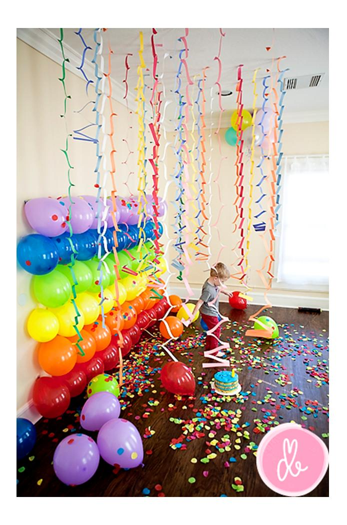 It 39 s written on the wall fabulous party decorations for for Balloon decoration on wall for birthday
