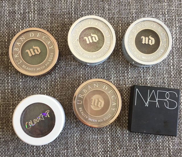 Urban Decay Lounge, Urban Decay Solstice, Urban Decay Scorpio, Colourpop Bae, Urban Decay Naked, NARS Dual Intensity Eyeshadow in Himalia