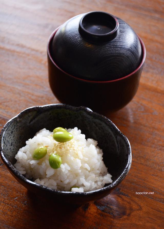 Edamame Ghohan rice, with Osumashi Soup