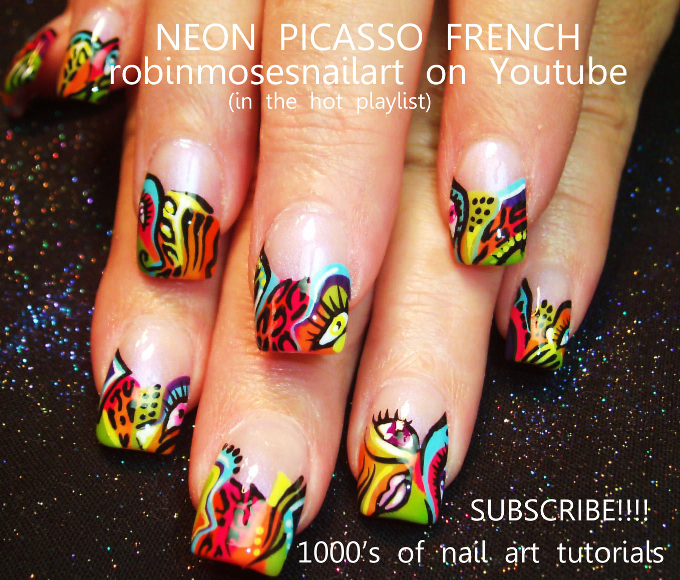 Neon Picasso Nails Abstract Nails Neon Butterfly Nails Short Nail