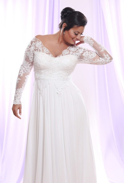 Wedding dresses with sleeves for plus size wedding hub for Plus size lace wedding dresses with sleeves
