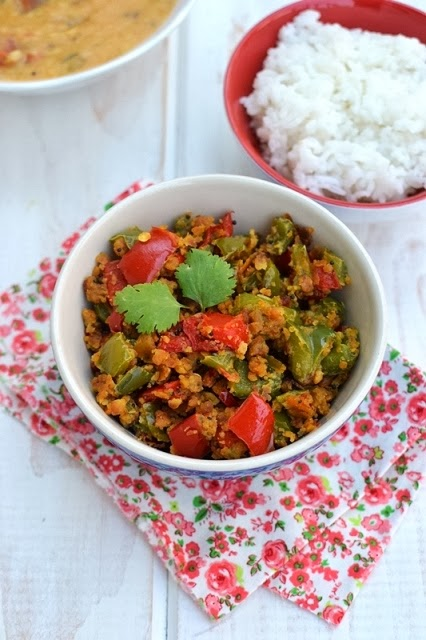 Pepper Besan Curry (Capsicum Chickpea flour dry curry)