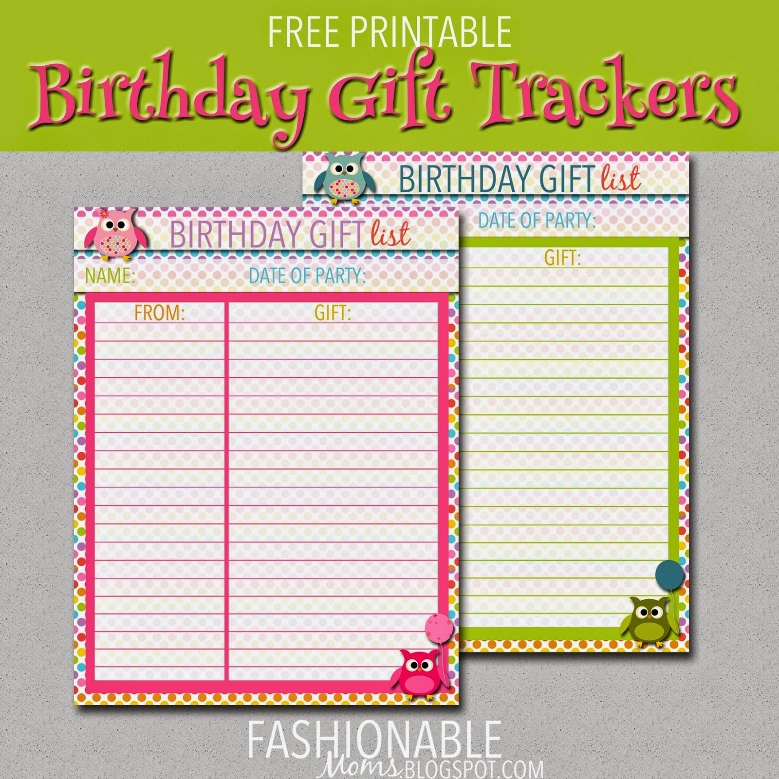 My fashionable designs free printable birthday gift for Birthday gift list template