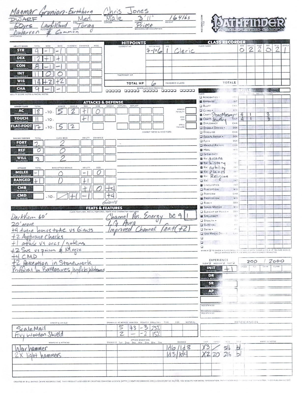 Pathfinder Character Sheet Paizo Pathfinder character sheet