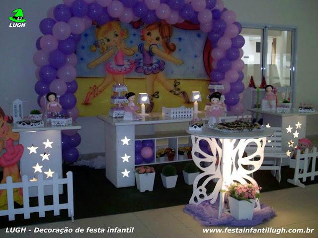 Tema Bailarinas para decoração de festa de aniversário infantil de meninas em mesa provençal - Recreio  RJ