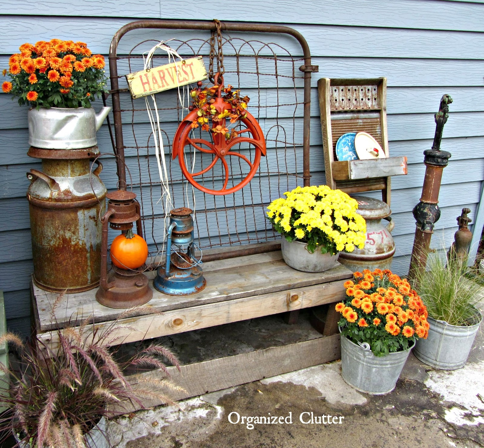 Fall outdoor decor a salvage style event organized clutter for Outdoor decorative items