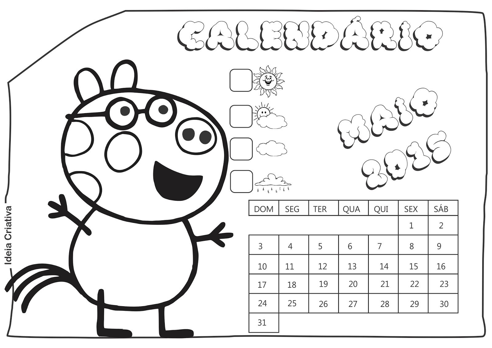 Calendário Maio 2015 Peppa Pig e Seus Amigos para Imprimir Grátis