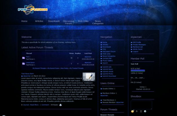 Free Black Blue Phpfusion Theme Template