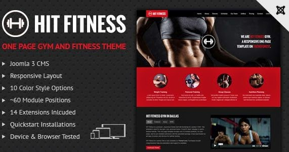 hit fitness and gym one page joomla template download
