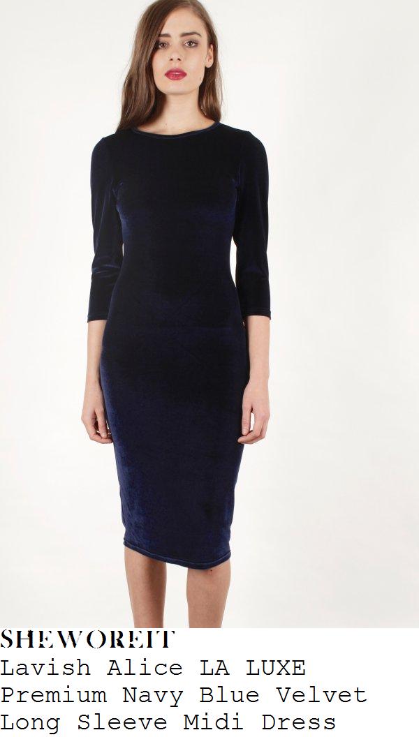 lucy-watson-navy-blue-three-quarter-sleeve-velvet-bodycon-midi-dress
