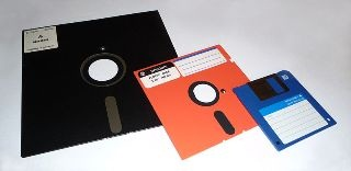 3 Floppy discs of different sizes