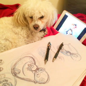 Buffy (Now Coconuts) helps Mom with art and manages her projects