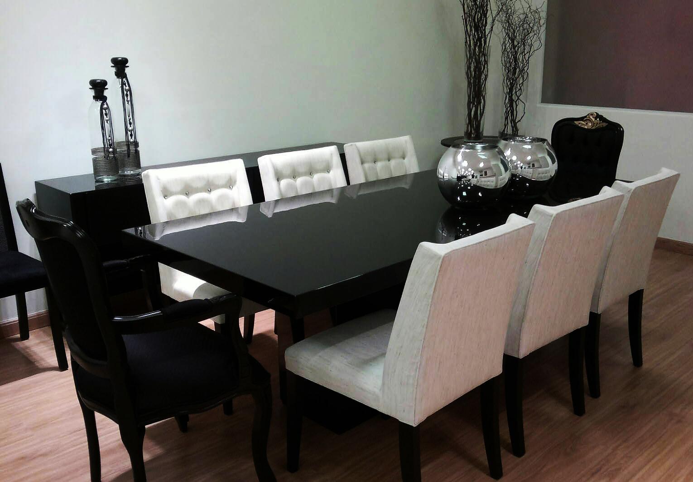 Sala Jantar Laca Preta ~ mesa de jantar em laca resinada preta brilhante cadeiras em laca preta
