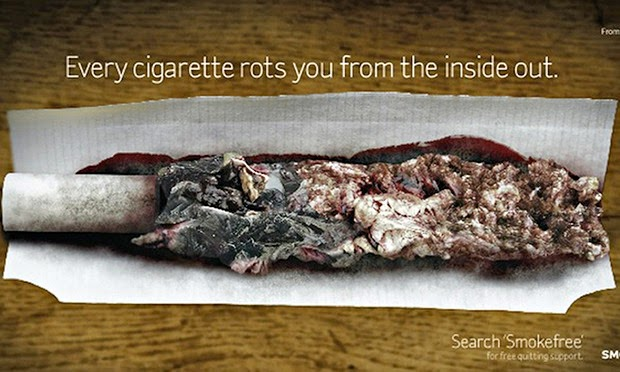 Damaged internal organs replace the tobacco in a roly.