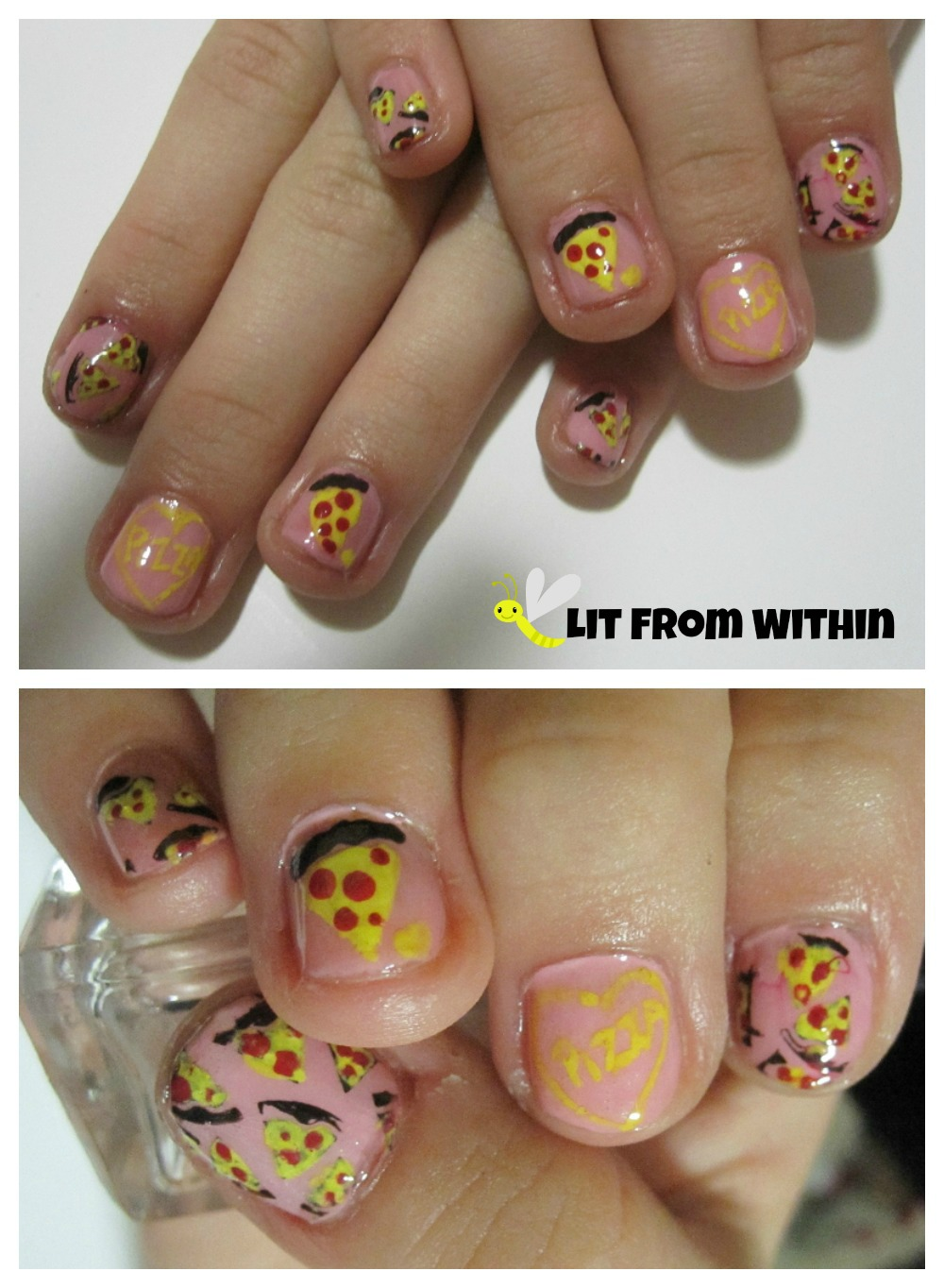 """I Heart Pizza"" nail art"
