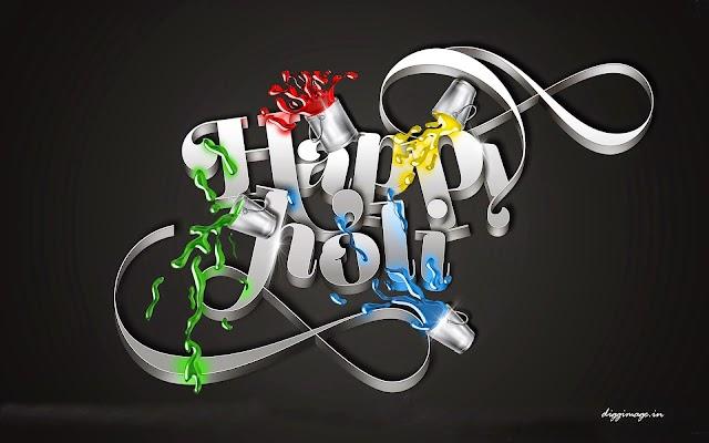 Happy Holi 3D wallpaper free download