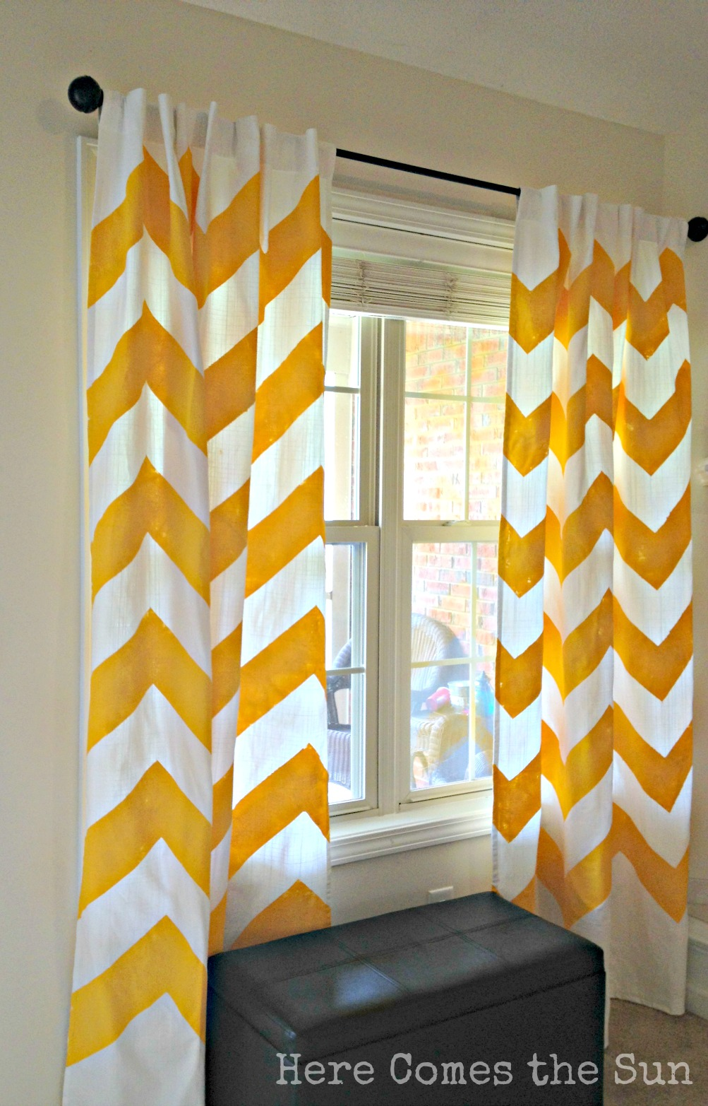 Yellow chevron curtains here comes the sun