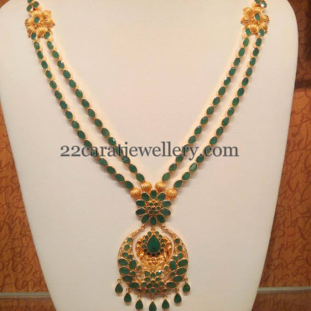 Temple Design Emerald Floral Long Chain