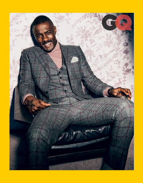 Idris Elba wearing three-piece suits in GQ October 2013