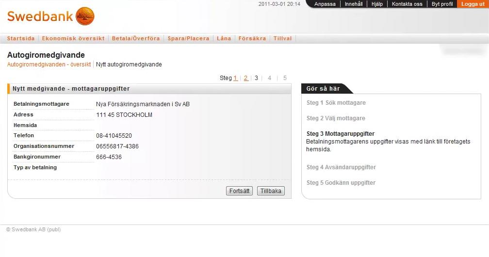 Swedbank Account Settings Screen