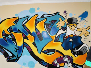 graffitti wall mural childs bedroom australia canada indoor art spray painted wall