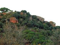 Vista dels gresos vermellosos de la zona de la Torreta del Clos a la Serra de Les Torretes