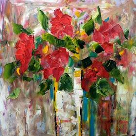 As flores nas obras de pintura