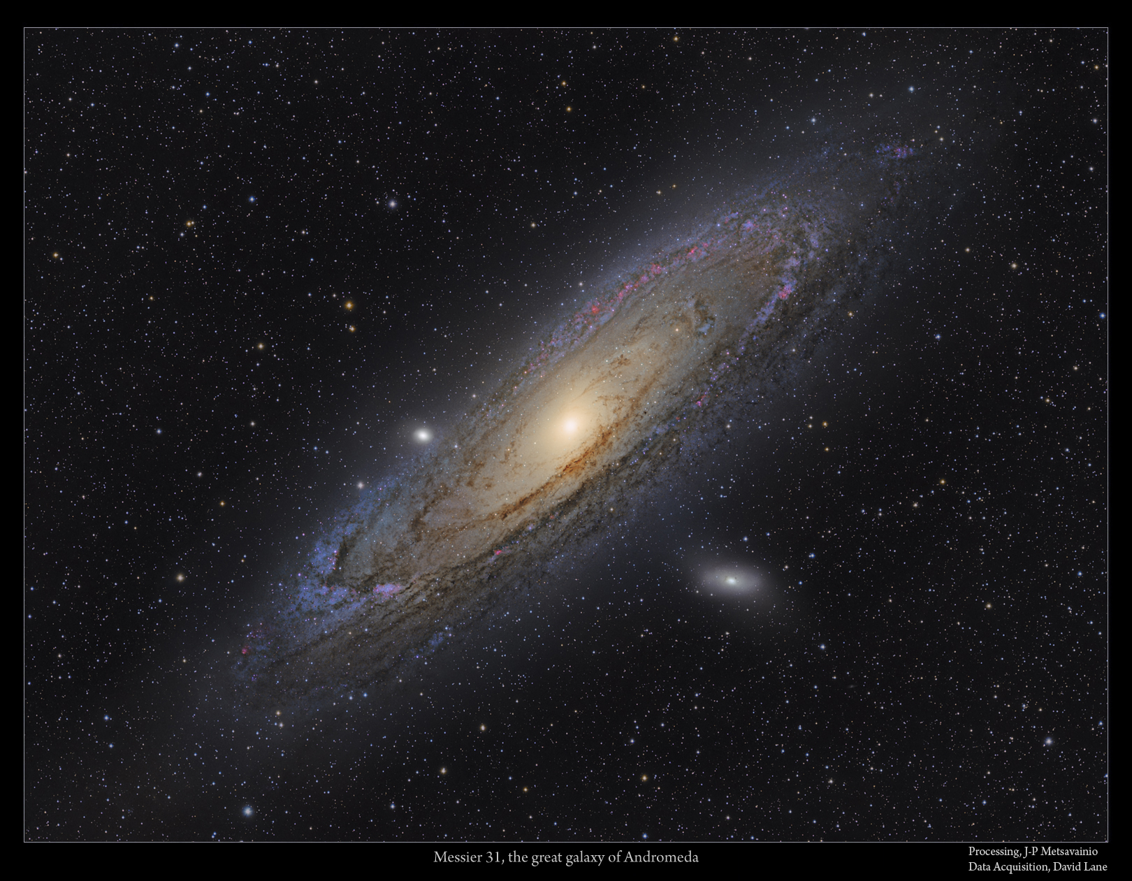 A deep H-alpha boosted LRGB exposure of the Galaxy of Andromeda.  (c) J-P Metsavainio. http://www.astroanarchy.blogspot.fi/