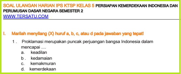 download bank Soal-Soal UH IPS KTSP Kelas 5 Semester 2 ulhar 2006