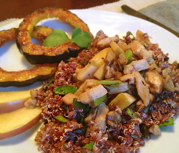 Image of Curried Chicken and Vegetables served over red quinoa with Glazed acorn squash.